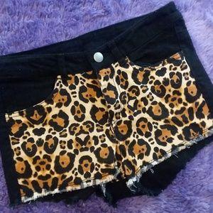 H&M Black and Leopard Print Shorts